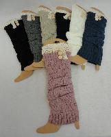Knitted Leg Warmers [Antique Lace/2 Buttons]